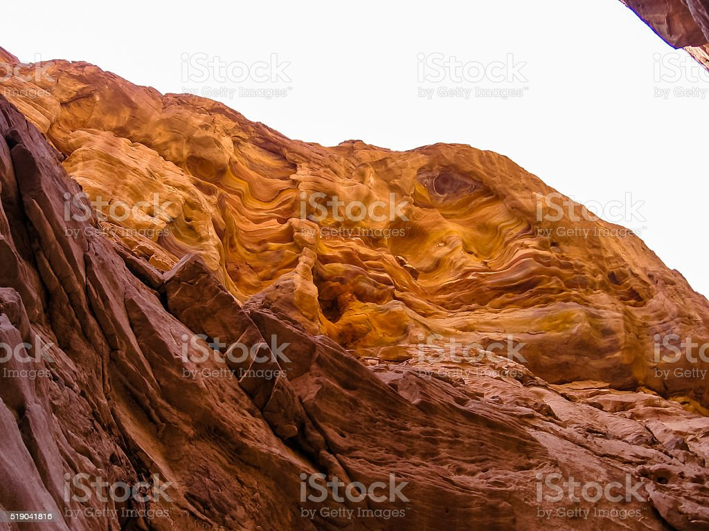 Colored Canyon Wall Nuweiba stock photo
