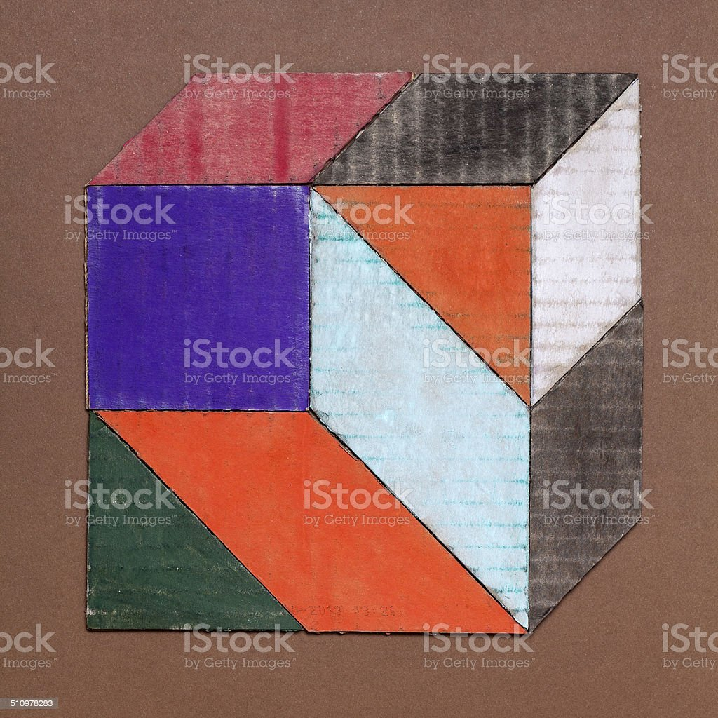 colored cardboard shapes stock photo