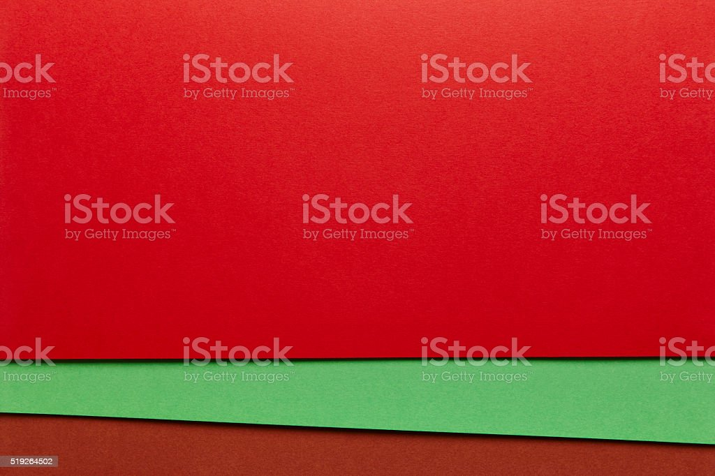 Colored cardboards background in red green brown tone. Copy spac stock photo