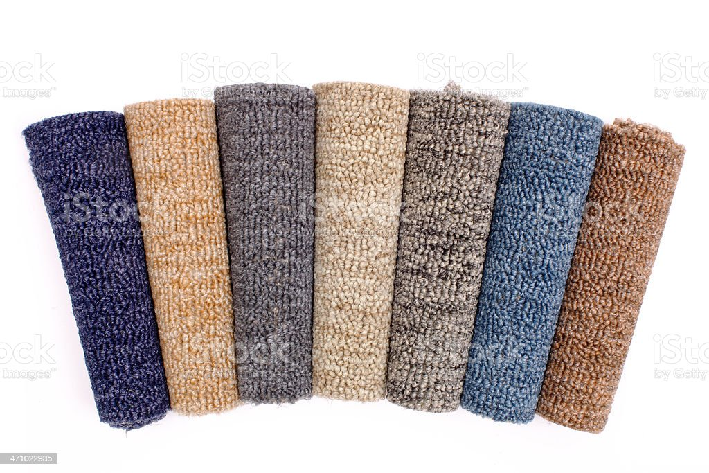 Colored carpet rolls royalty-free stock photo