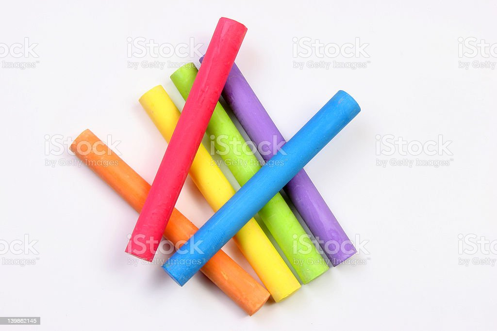 Colored chalks overlaped stock photo