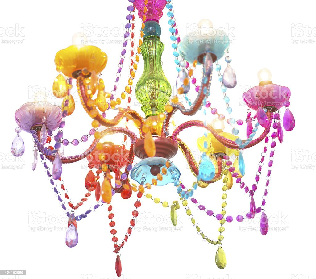 colored chandelier on white background royalty-free stock photo