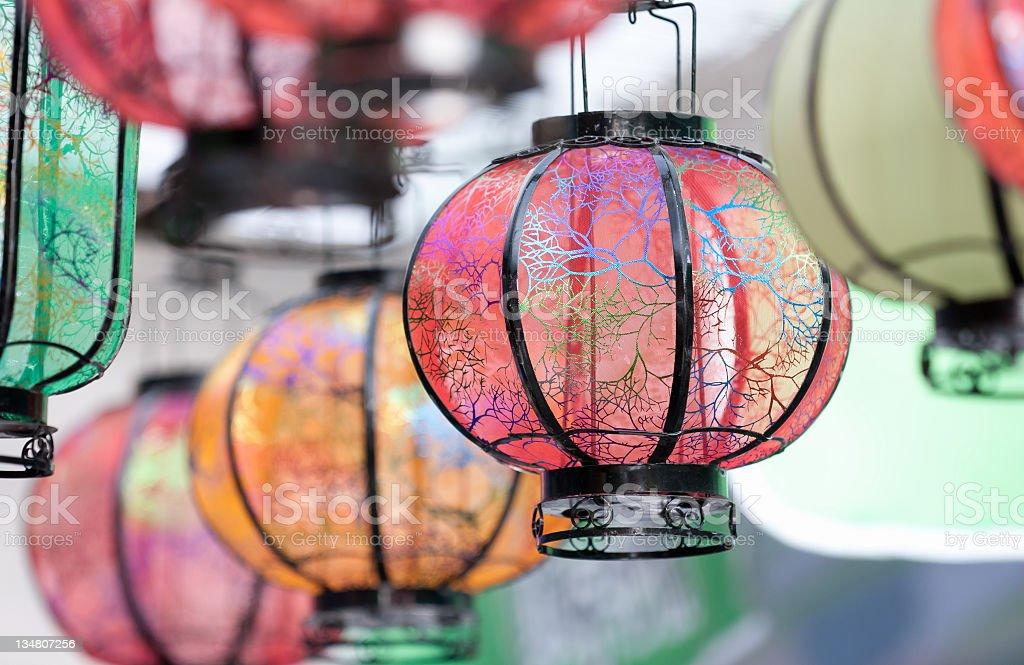 Colored Chinese lanterns stock photo