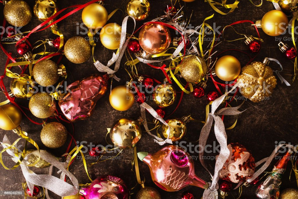 Colored Christmas toys on the table. Celebrate the New Year. stock photo