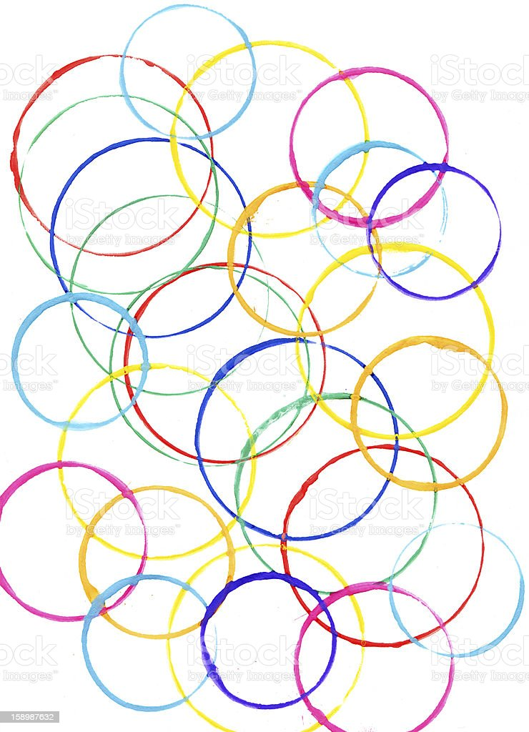 Colored circles made with paint royalty-free stock photo