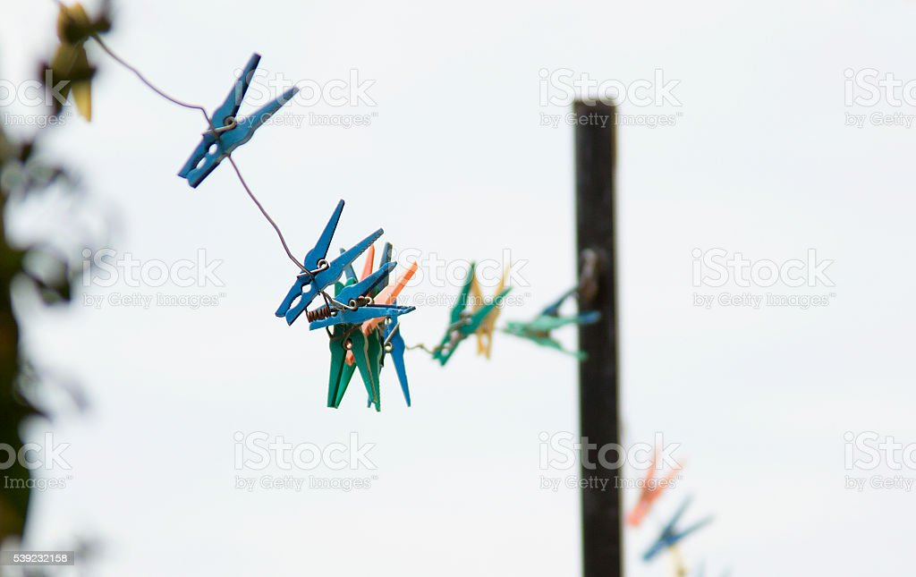 colored clothespin stock photo