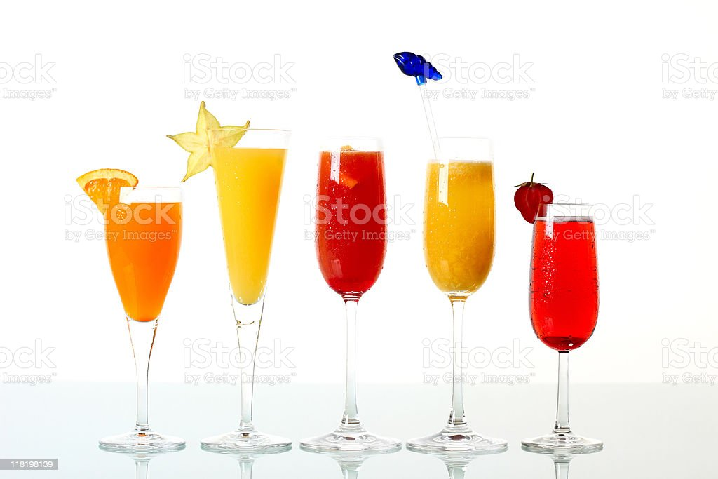 Colored Cocktails with Champagne Isolated White royalty-free stock photo