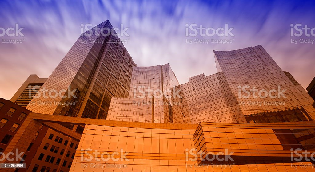 Colored concept glass skyscrapers stock photo
