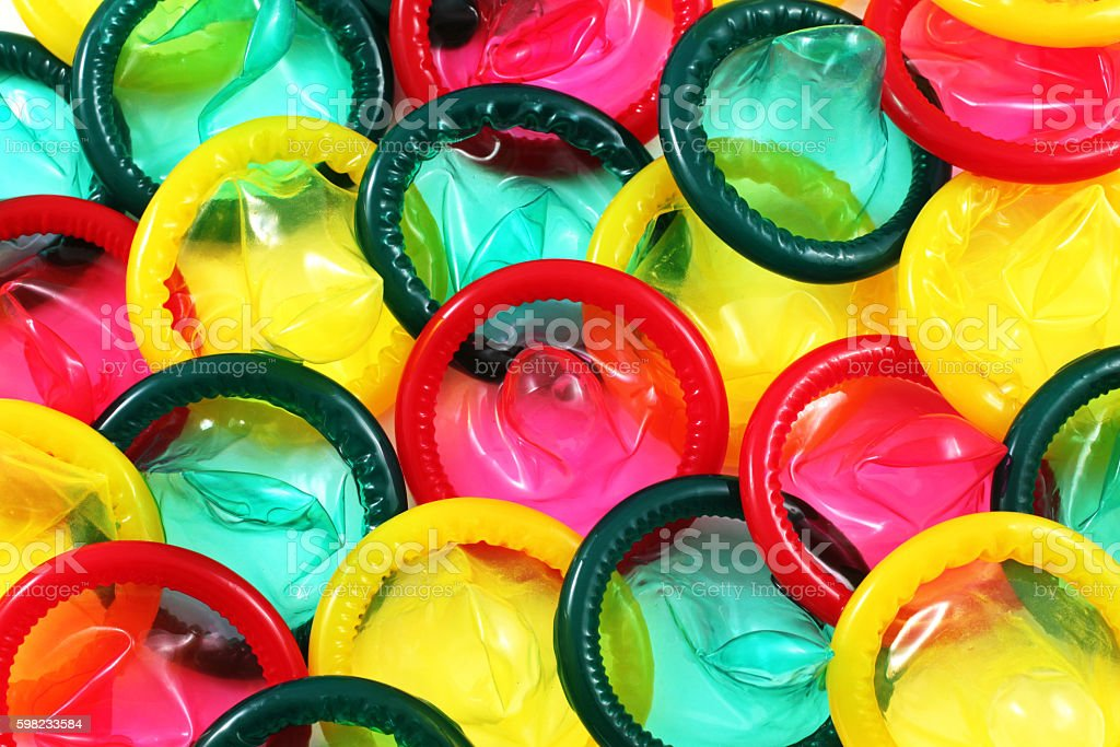 Colored Condoms Close Up stock photo