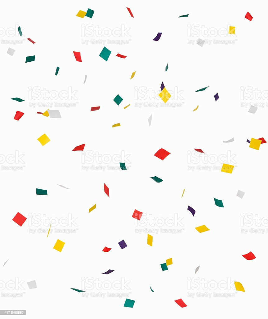 Colored confetti on white background stock photo