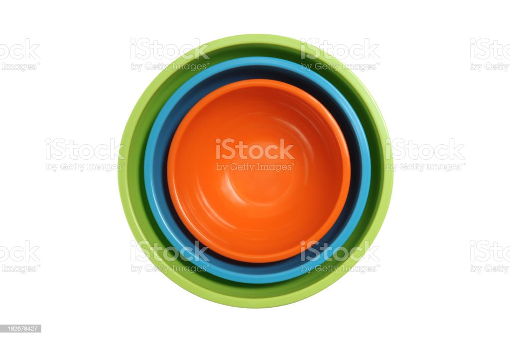 Colored Cooking Bowls Stacked Isolated on White Background royalty-free stock photo