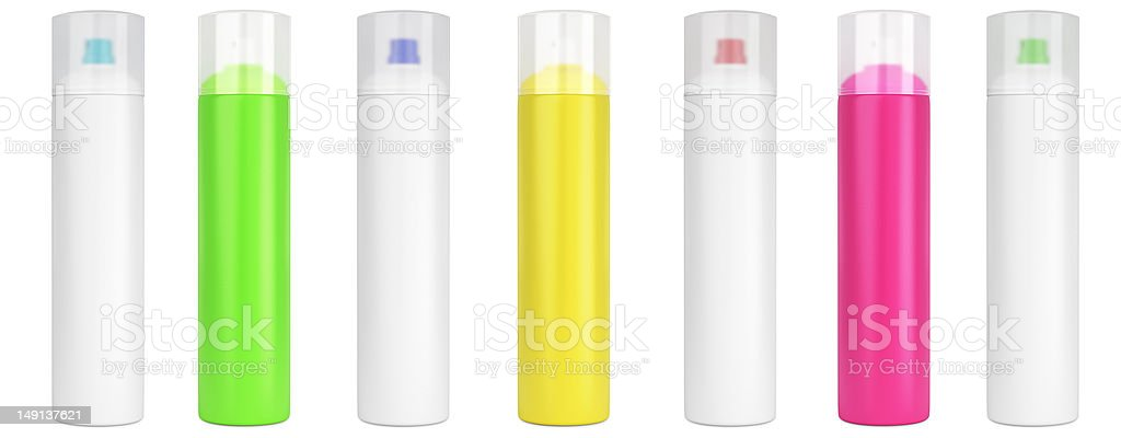 Colored cosmetic bottles stock photo