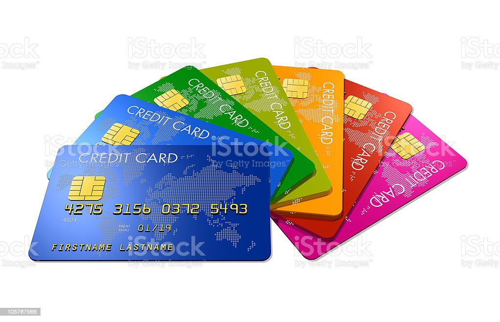 Colored credit cards royalty-free stock photo