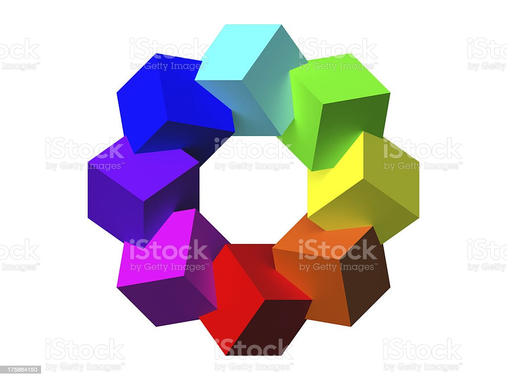 Colored cubes 3D royalty-free stock photo