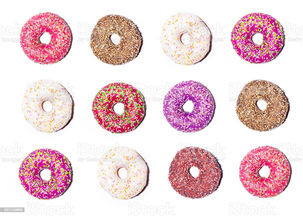 Colored donuts with sprinkles. stock photo