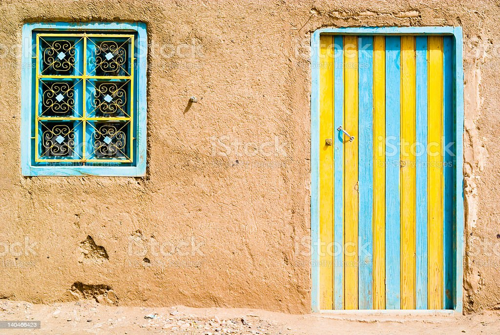 Colored door in the desert, Morocco royalty-free stock photo