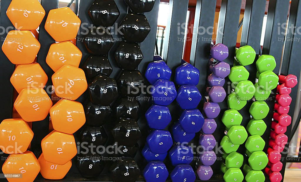 Colored Dumbbells royalty-free stock photo