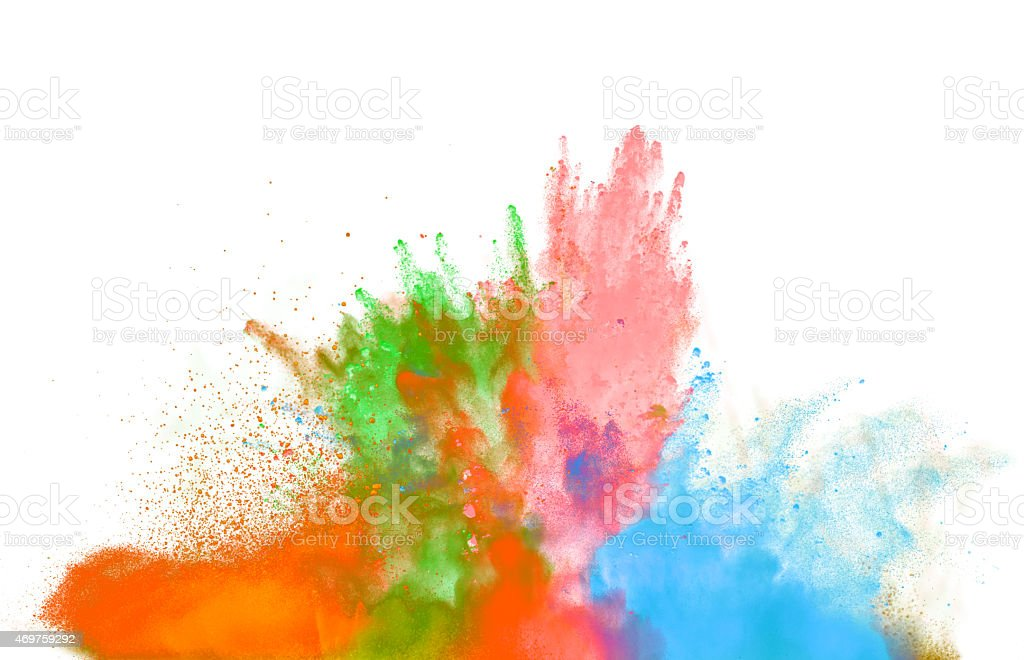 Colored dust explosion on white background stock photo