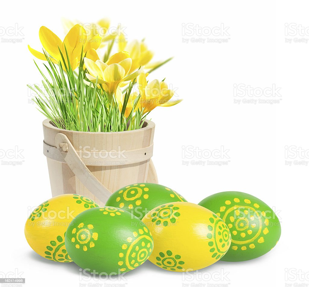 Colored Easter eggs and crocuses royalty-free stock photo