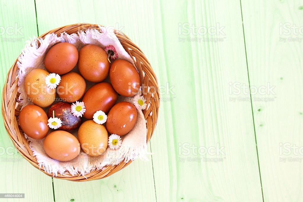 colored easter eggs on green grass stock photo