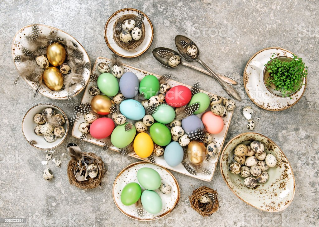 Colored Easter eggs Table decoration stock photo
