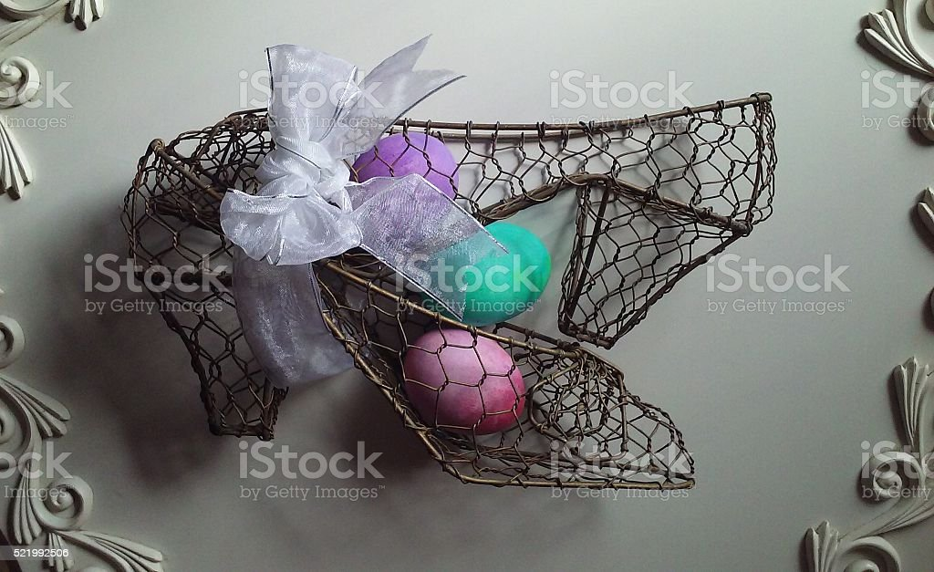 Colored Easter Eggs with a bow stock photo