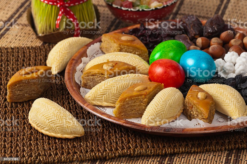 Colored eggs for Easter stock photo