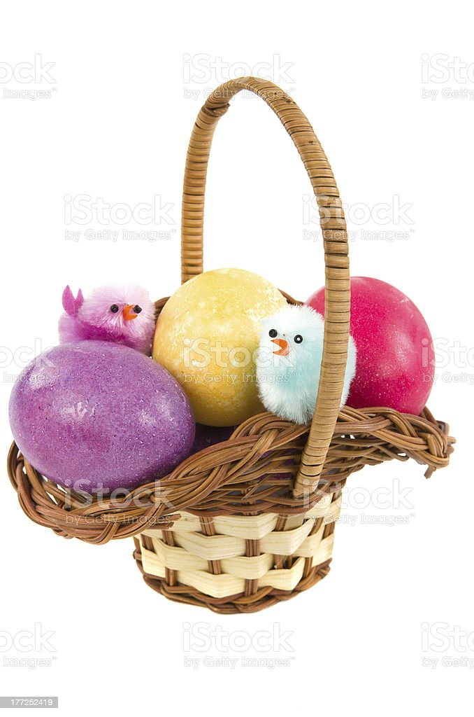 Colored eggs in easter basket royalty-free stock photo