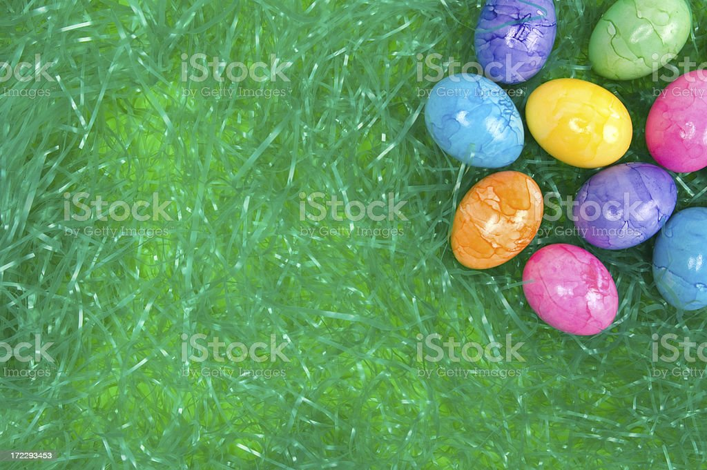 Colored Eggs on Green Grass royalty-free stock photo