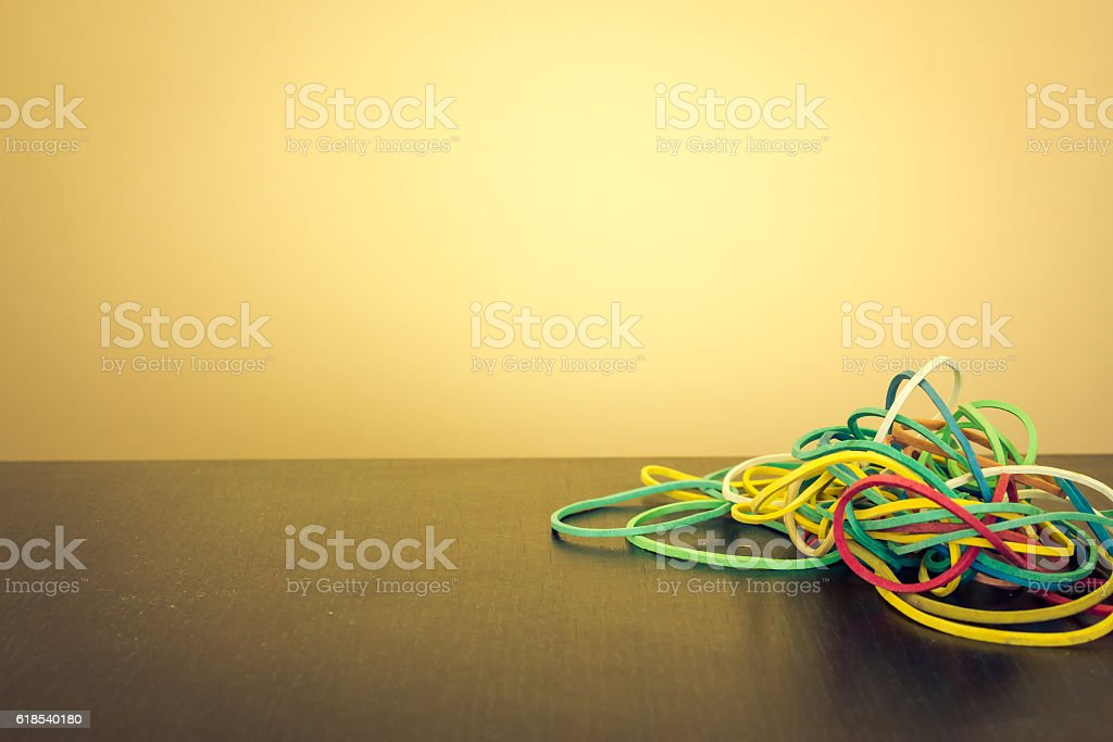 Colored elastic rubbers stock photo