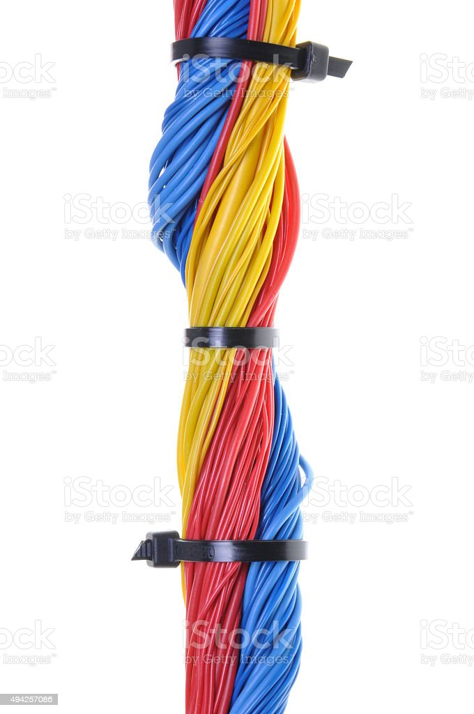 Colored electrical cables with cable ties stock photo