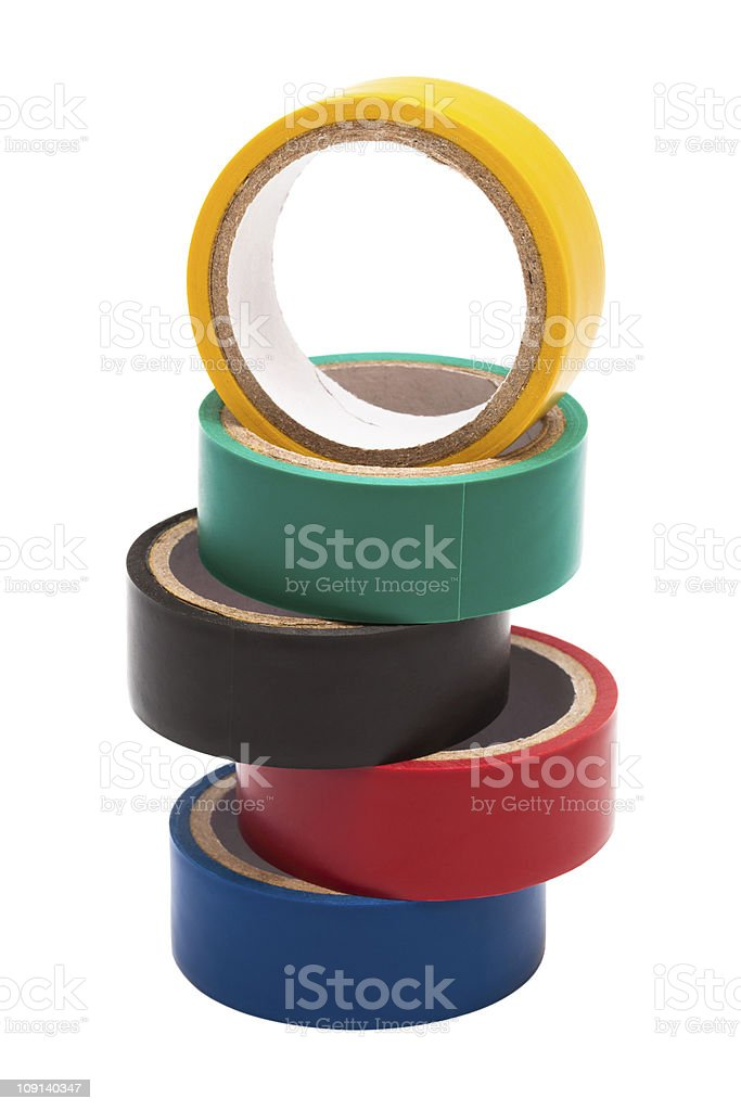 colored electrical tape stock photo