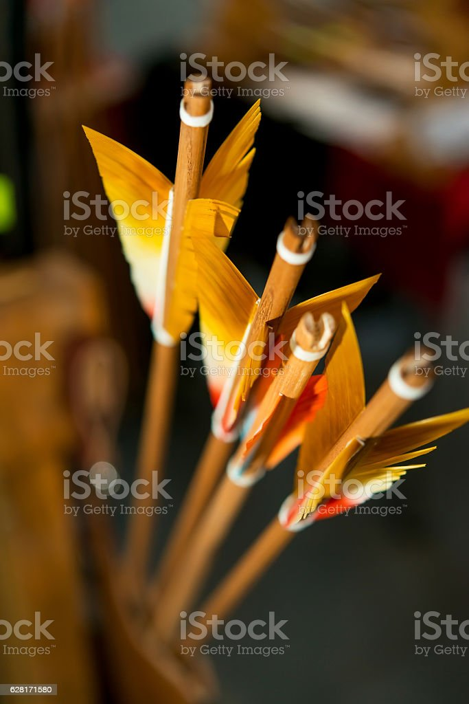 colored feathers arrows for archery stock photo