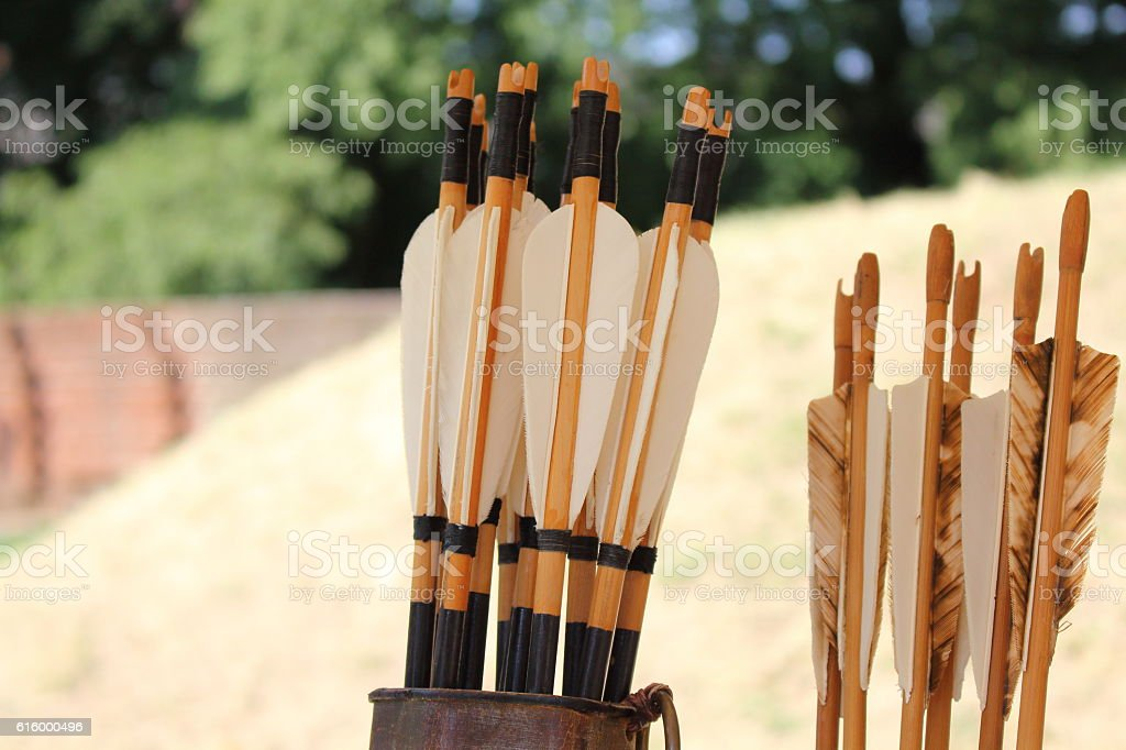 Colored feathers for arrows in a quiver stock photo