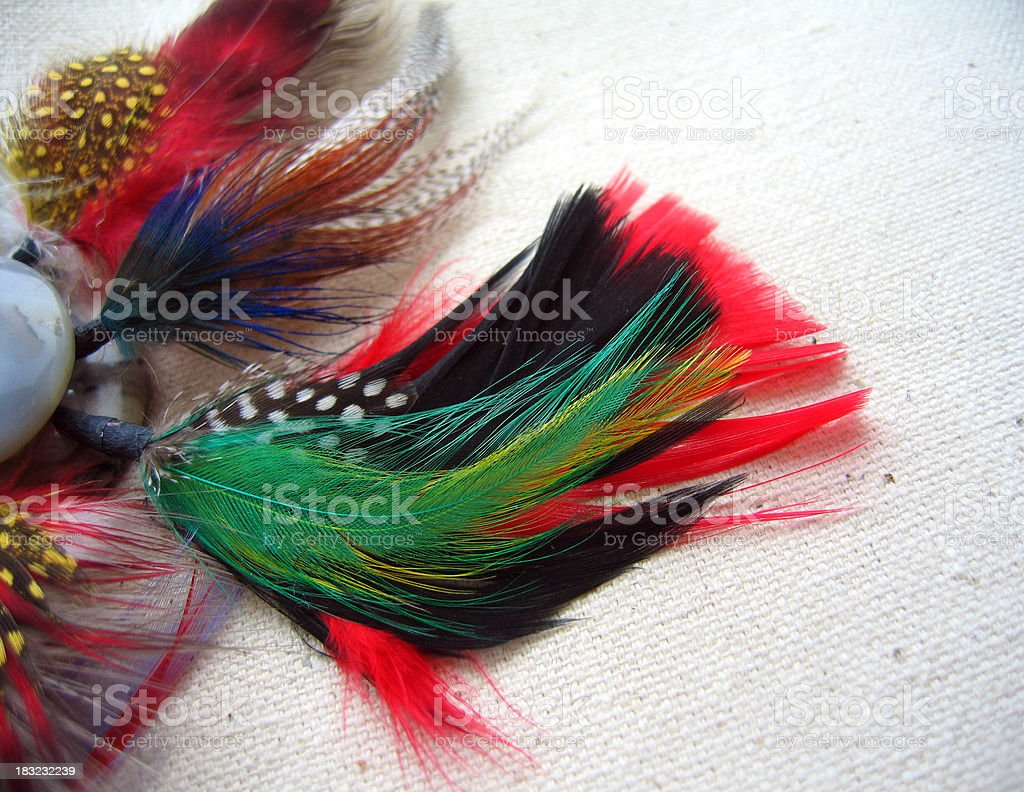 Colored Feathers on Canvas stock photo