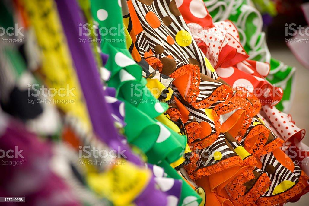 Colored Flamenco dresses stock photo