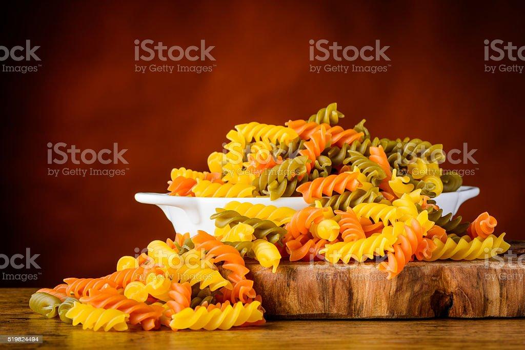 Colored Fusilli Doppia Rigatura Pasta stock photo