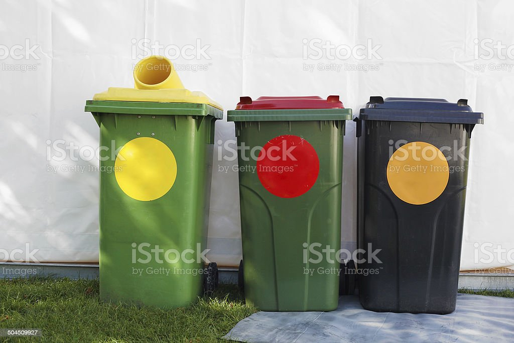colored garbage bins royalty-free stock photo