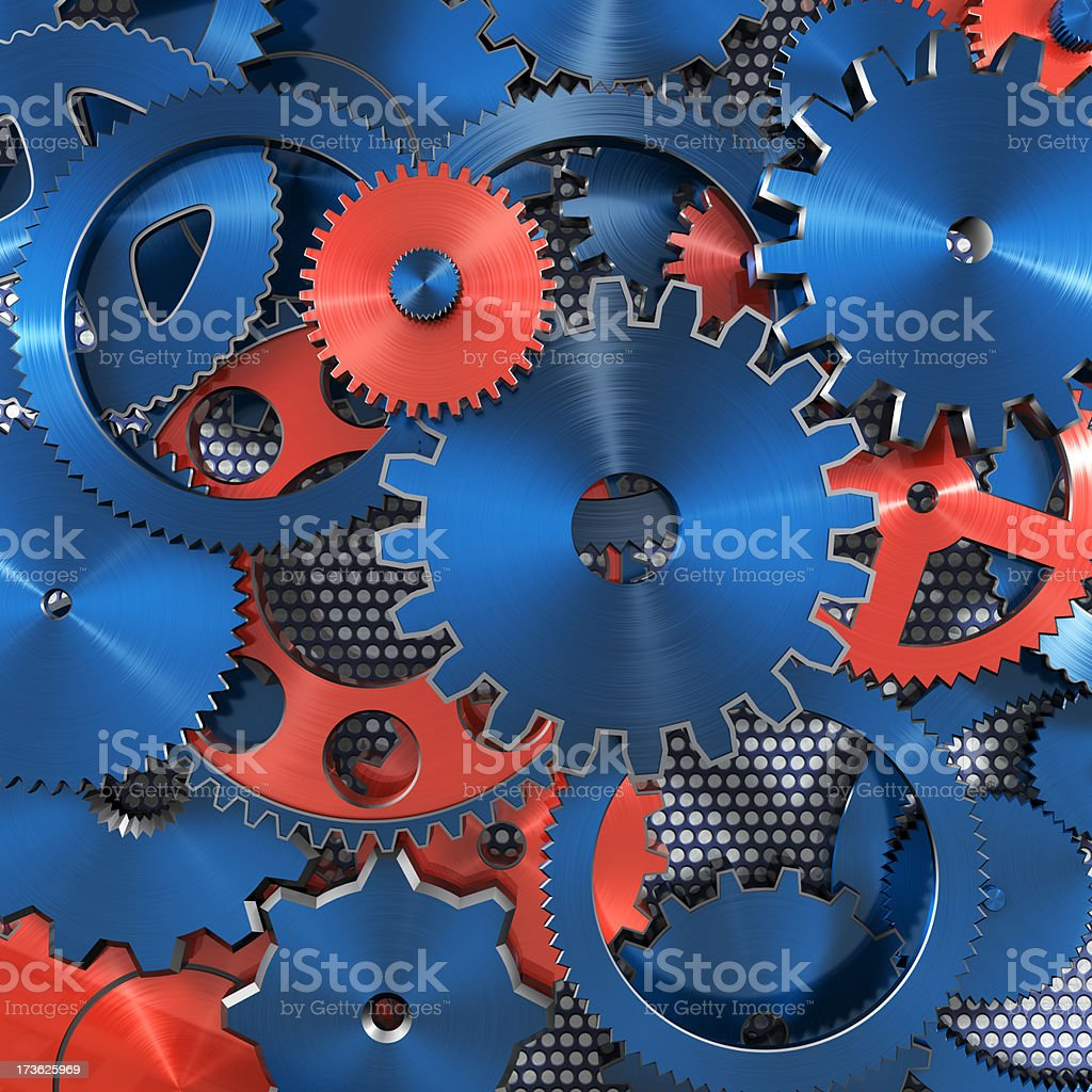 Colored gearwheels arrangement background stock photo