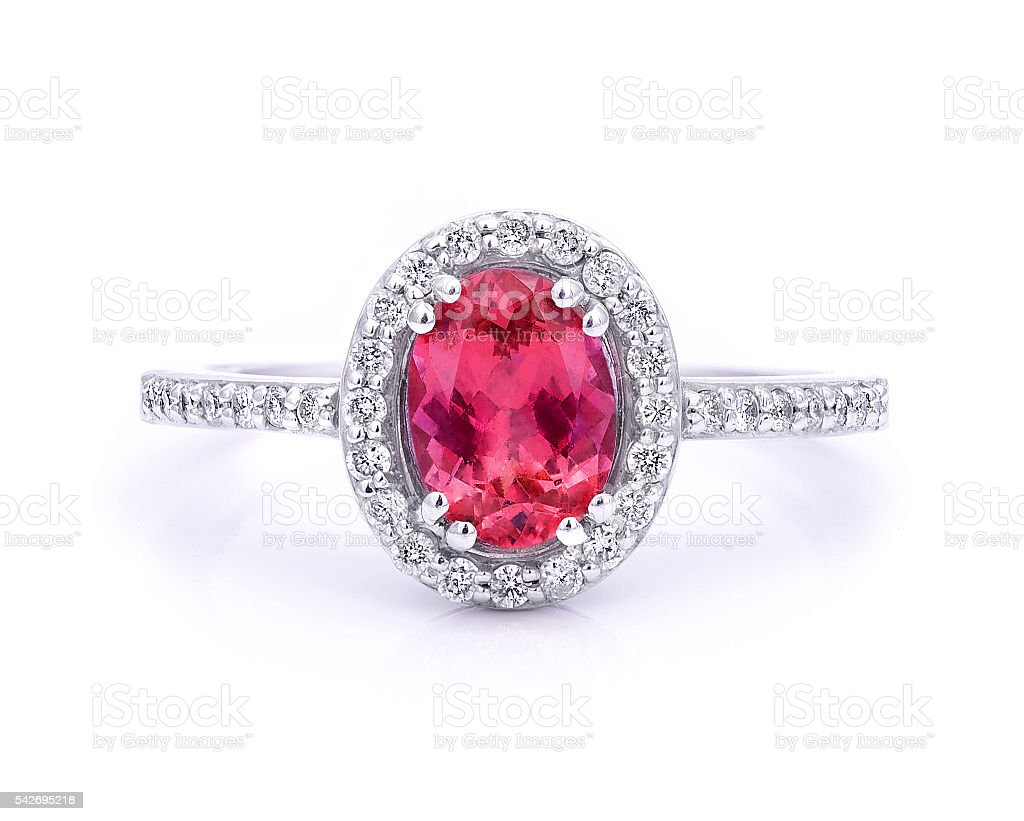 Colored gemstone ring stock photo