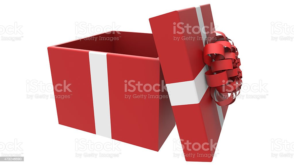 colored gift box in red and white stock photo