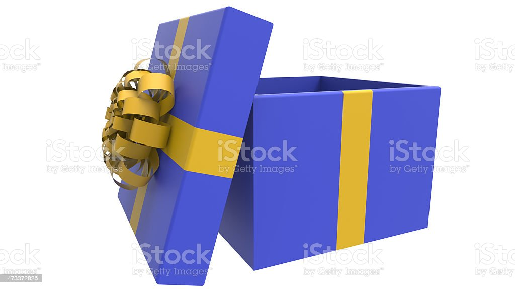 colored gift box in yellow and blue stock photo