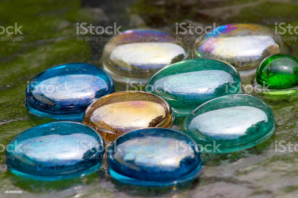 colored glass beads background stock photo