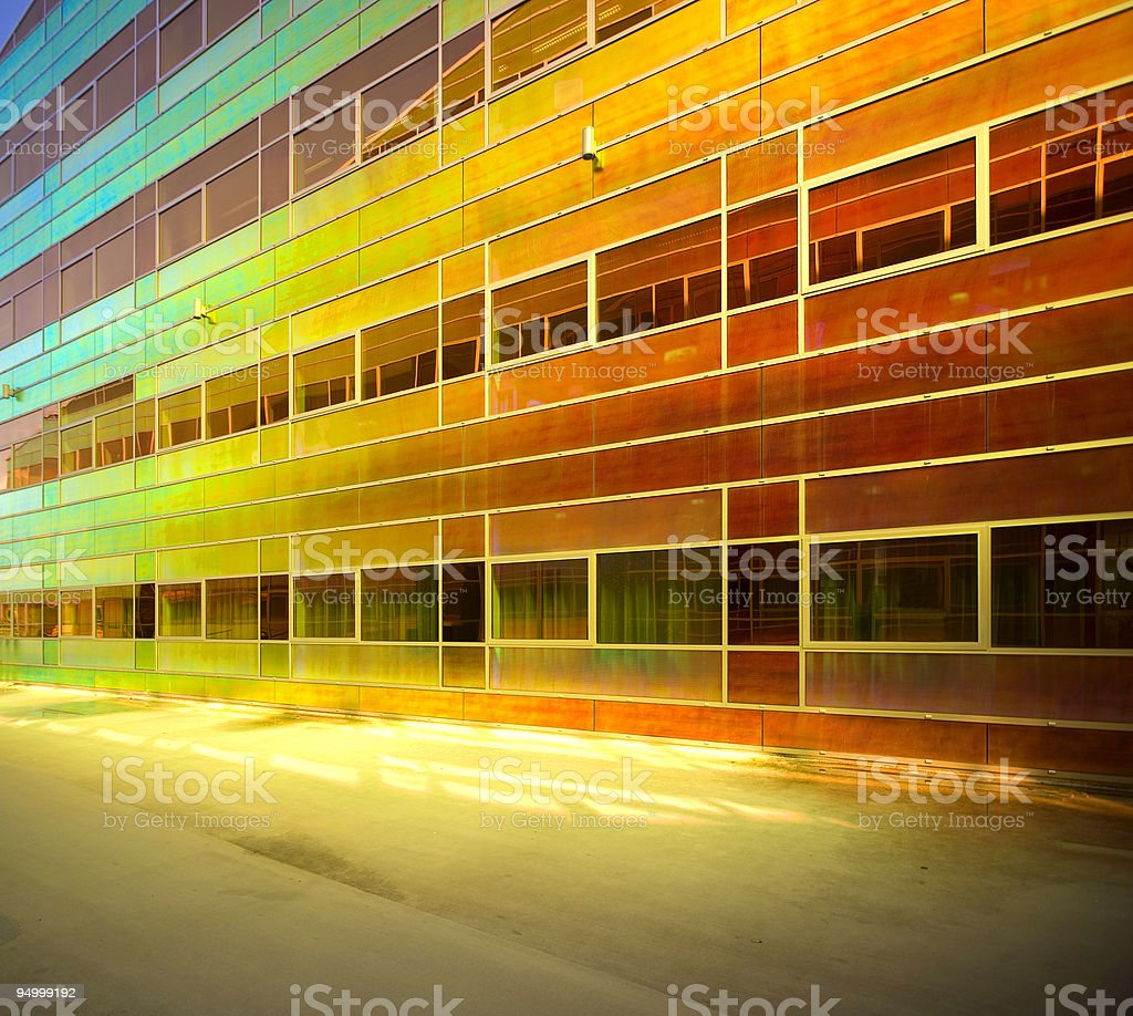 Colored glass on a facade royalty-free stock photo