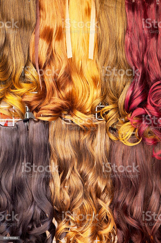 Colored hair extensions stock photo