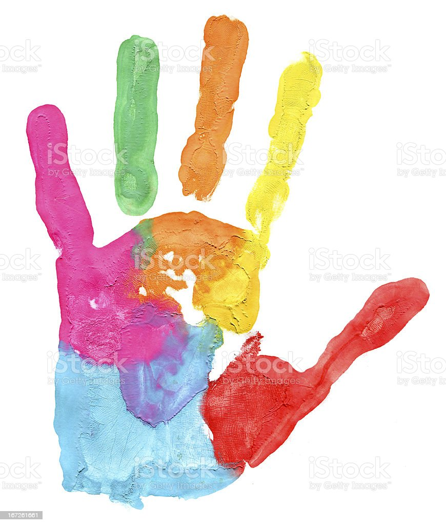 Colored hand print on white background royalty-free stock photo