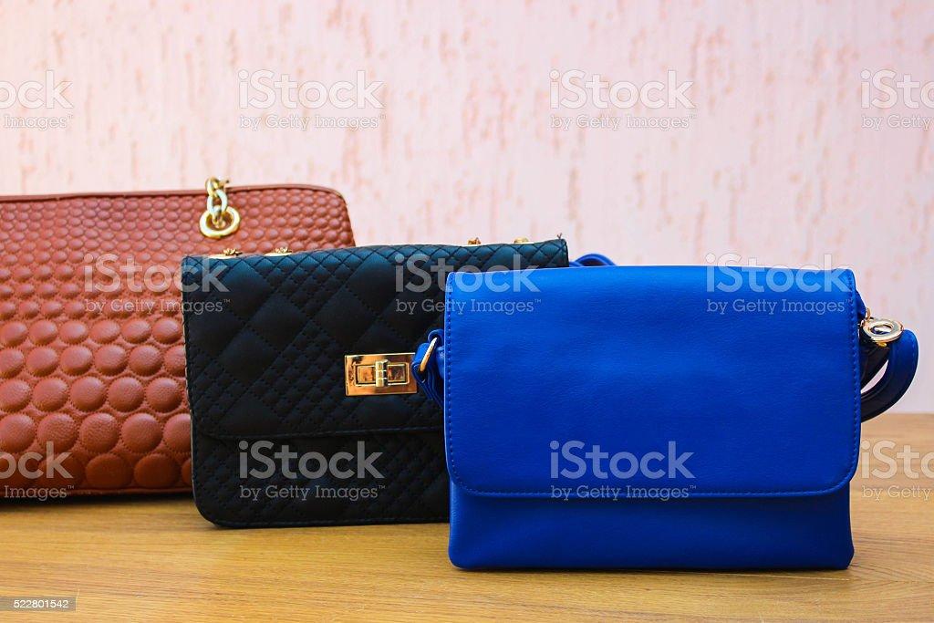 colored handbags. Women's accessories. stock photo