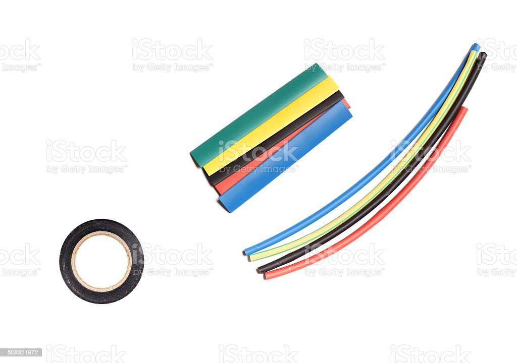 Colored heat shrink tubing and duct tape stock photo