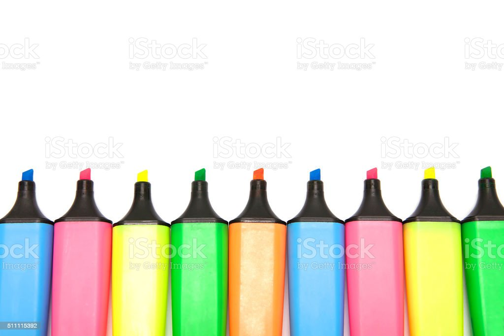 Colored highlighters set isolated on white background. stock photo