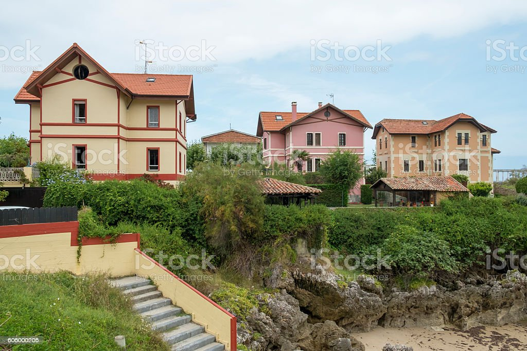 Colored hauses in Llanes, Asturias, Spain. stock photo